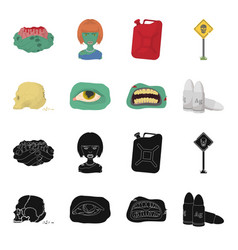 Zombies and attributes blackcartoon icons in set vector
