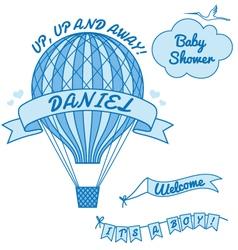 new baby boy with hot air balloon vector image vector image