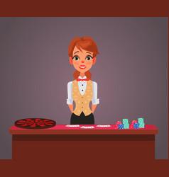 smiling woman casino croupier character vector image vector image