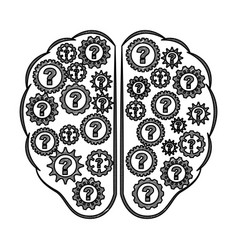 storm brain with question isolated icon vector image