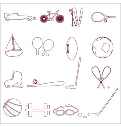 various sport equipment and tools outline icons vector image vector image
