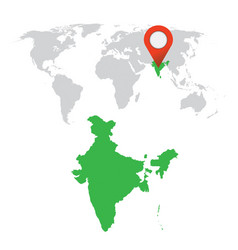 detailed map of india and world map navigation vector image vector image