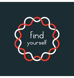 Find yourself in red and white sign vector
