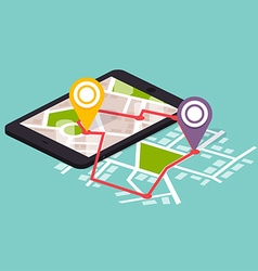 Flat 3d isometric mobile navigation maps vector image vector image