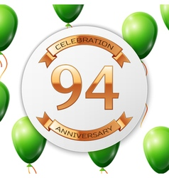 Golden number ninety four years anniversary vector image