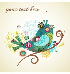 greeting card with bird vector image vector image