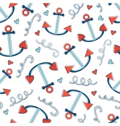 Colorful seamless sea pattern with anchors vector image
