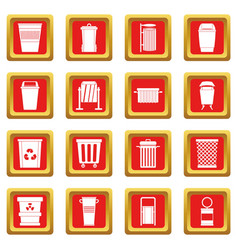 Garbage container icons set red vector