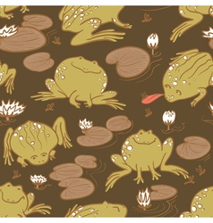 pattern with frogs and water lily vector image