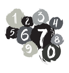 poster with ink grunge texture numbers vector image