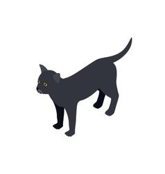 Black cat icon isometric 3d style vector image