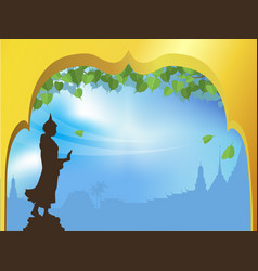 buddha statue and bodhi tree with golden arch vector image