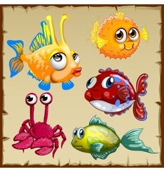 Collection of exotic fish and crab 5 icons vector image vector image