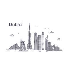 detailed dubai line cityscape with vector image vector image