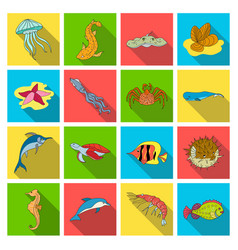 Sea animals set icons in flat style big vector