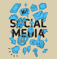 Social media isolated artistic cartoon hand drawn vector