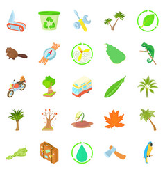 tourist meeting icons set cartoon style vector image vector image
