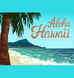 waikiki beach of oahu island vector image