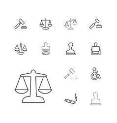 13 law icons vector