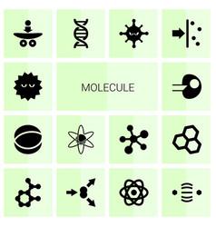 14 molecule icons vector