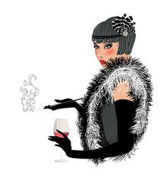 20s fashion woman with cigarette vector