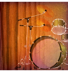 Abstract grunge music background with drum kit vector
