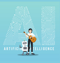 Ai robot and guitarist design vector