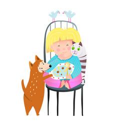 Animals lover kids cartoon vector