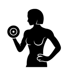 Athletic Woman Silhouette Pumping Up Muscles with vector image