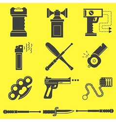 Black icons for self defence vector