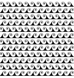 black waves lines seamless greek pattern vector image