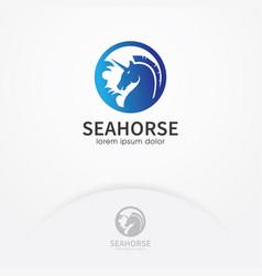 blue seahorse logo design vector image