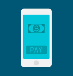 business man hand holding smartphone with bitcoin vector image