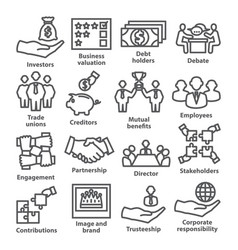 Business management line icons pack 32 vector