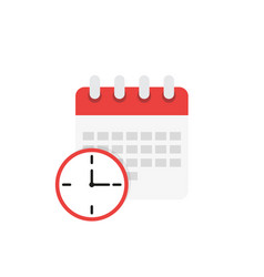 calendar and clock icon schedule in flat style vector image