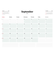 Calendar template for september 2021 business vector