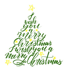 calligraphy lettering christmas tree with stars vector image