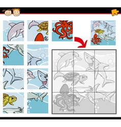 cartoon animals jigsaw puzzle game vector image