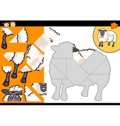 Cartoon farm sheep puzzle game vector