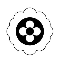 Cartoon flower in black and white line icon image vector