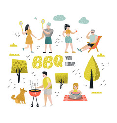 Character people on bbq party barbeque and grill vector