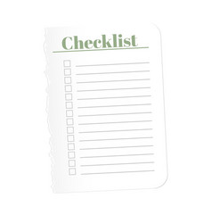 Check list torn a blank sheet of paper to record vector