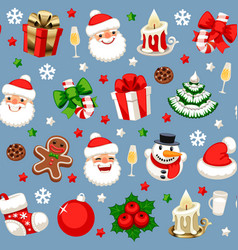 christmas seamless pattern on blue vector image