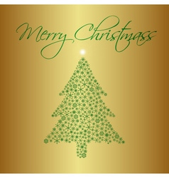 Christmas tree from snowflakes on gold background vector
