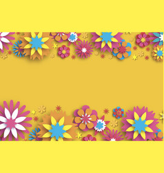 Colorful floral card paper cut flowers vector