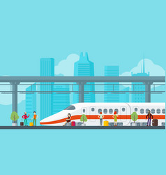 Colorful train station concept vector