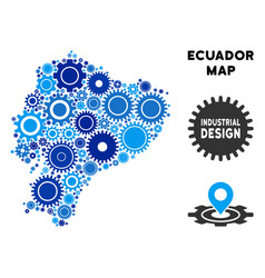 composition ecuador map of gears vector image