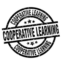 Cooperative learning round grunge black stamp vector