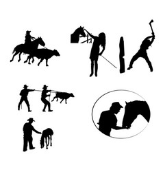 Cowboys working silhouette set vector
