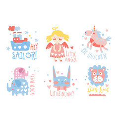 Cute hand drawn decor elements with text sailor vector